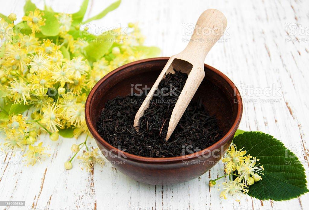 Dry black  tea stock photo
