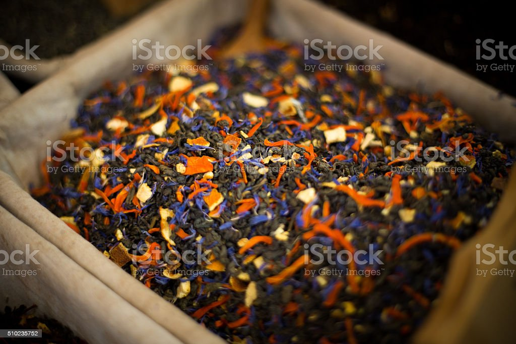 Dry blacktea leaves as a background stock photo