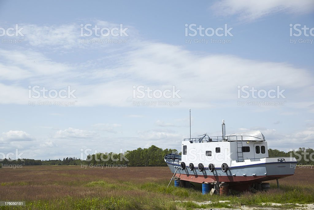Dry Boat on the Prairie stock photo