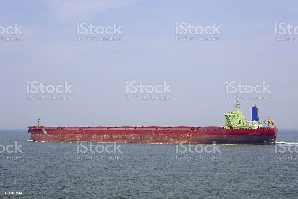 dry bulk carrier at open sea stock photo