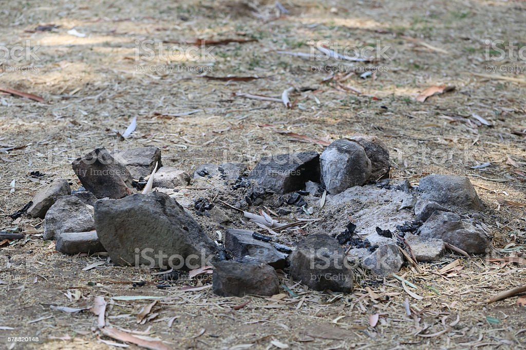 Dry Camp Fire stock photo