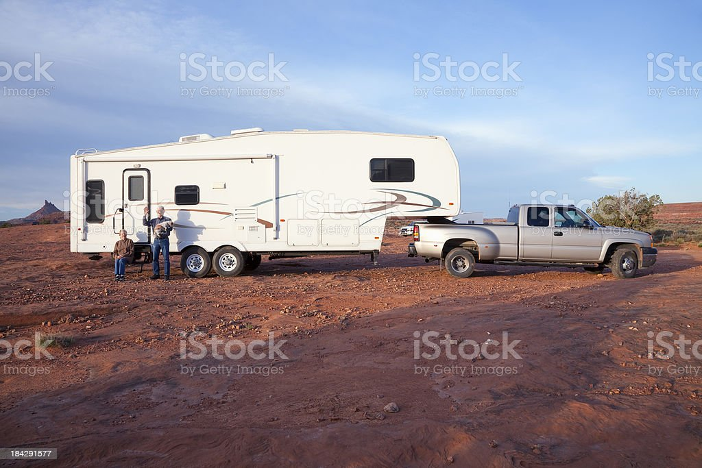 RV Dry Camping on BLM Land near Canyonlands National Park royalty-free stock photo