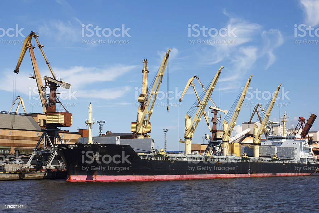 dry cargo ship in port royalty-free stock photo