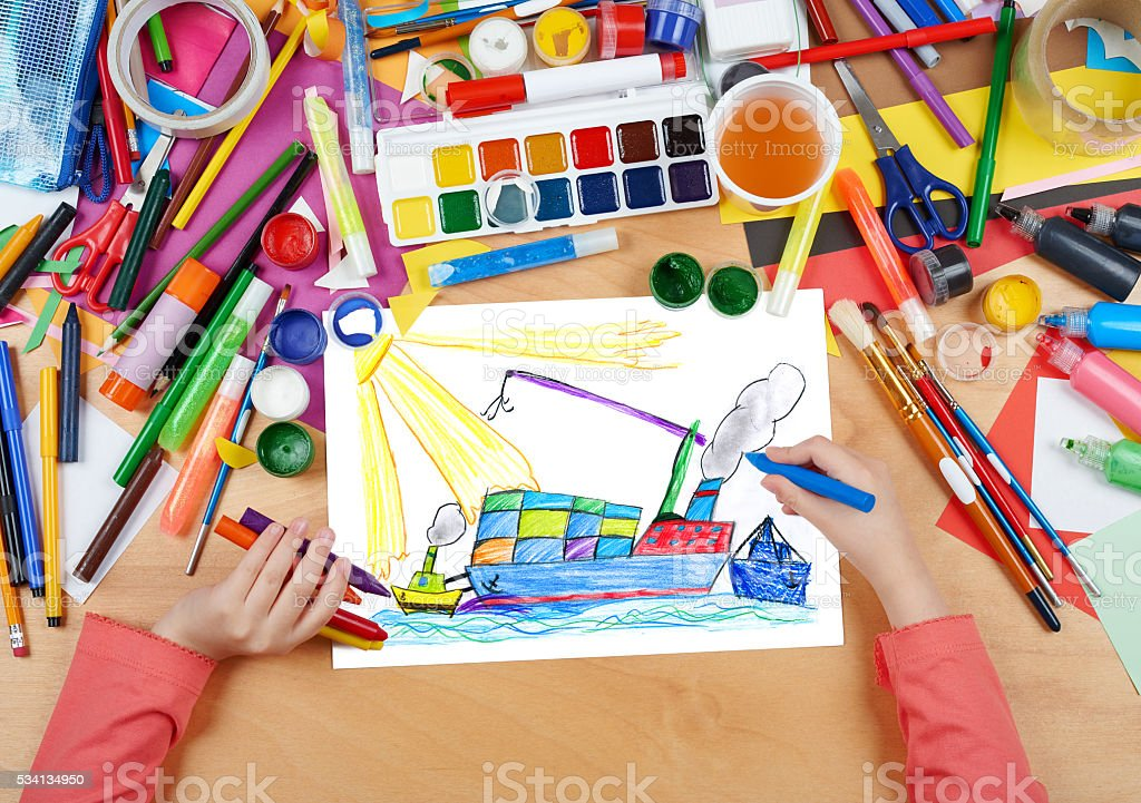dry cargo ship with containers child drawing stock photo