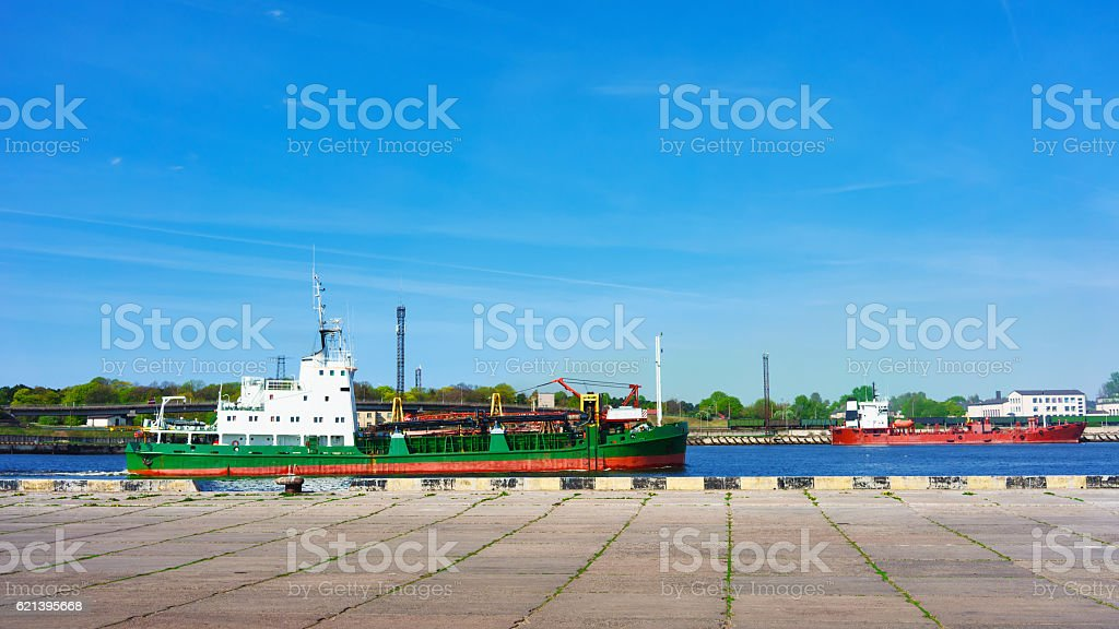 Dry cargo vessel at the Marina in Ventspils stock photo