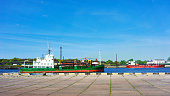 Dry cargo vessel at the Marina in Ventspils