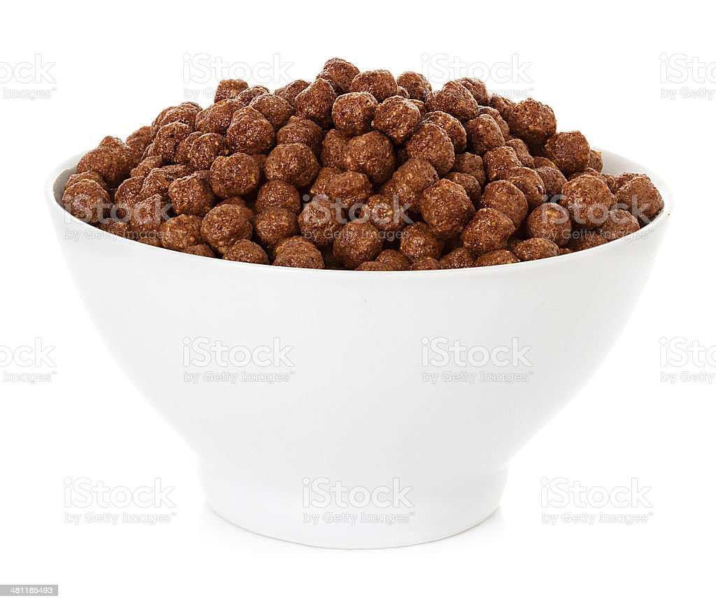 dry cereal for breakfast, isolated on white stock photo