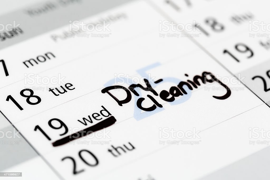 Dry cleaning is marked on Wednesday in calendar stock photo