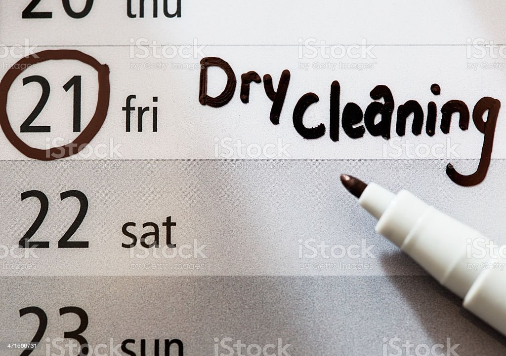 Dry cleaning reminder on Friday in calendar royalty-free stock photo