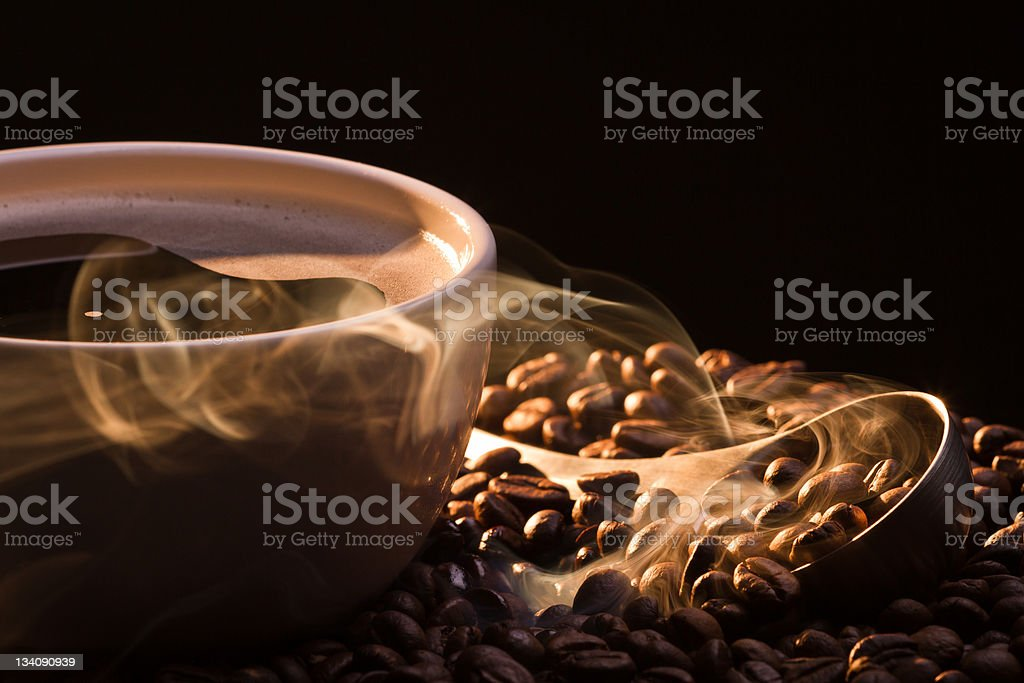Dry coffee with golden smoke royalty-free stock photo