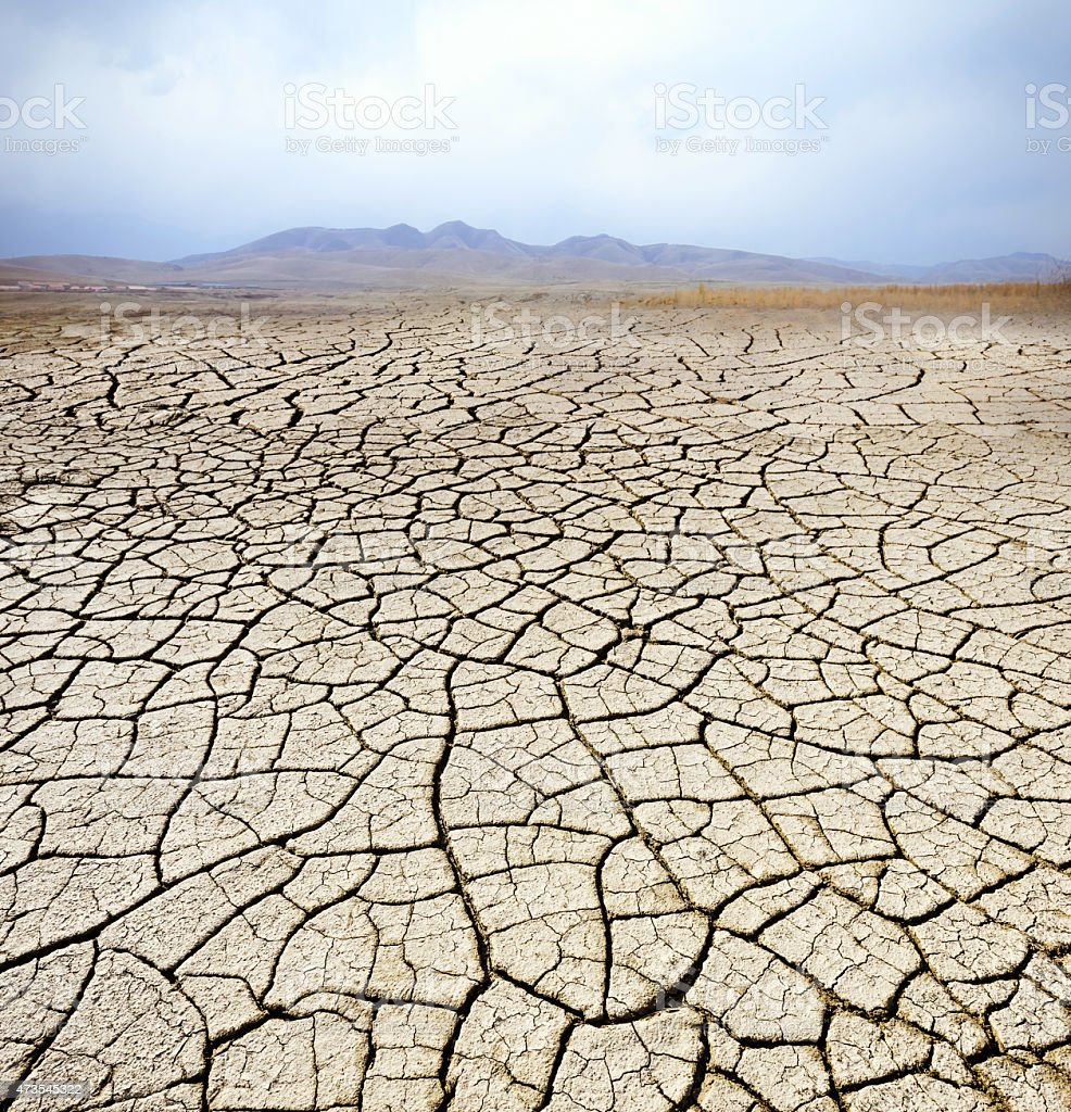 Dry cracked clay in desert with mountain landscape  stock photo
