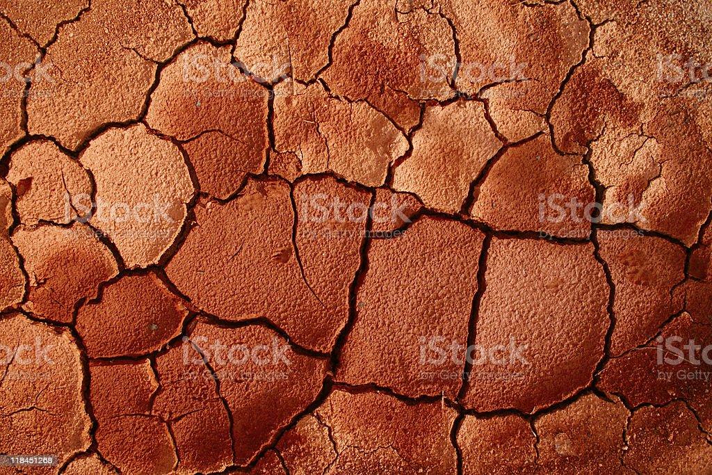 Dry Cracked Georgia Clay stock photo