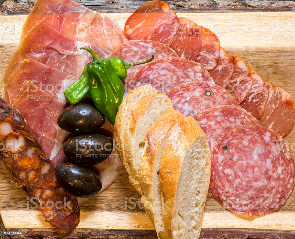 Dry cured Meat plate stock photo