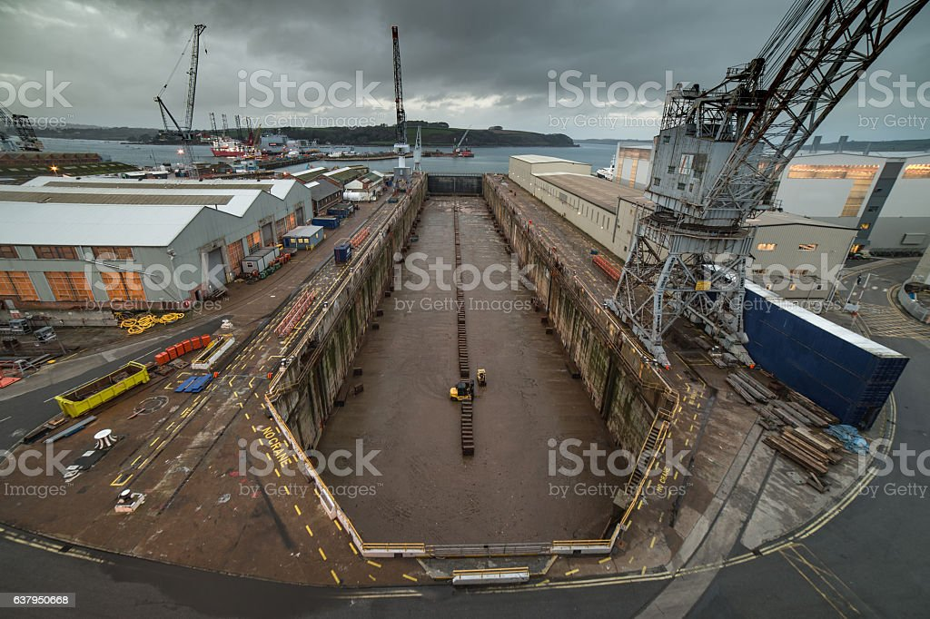 Dry dock at Falmouth seen from above stock photo