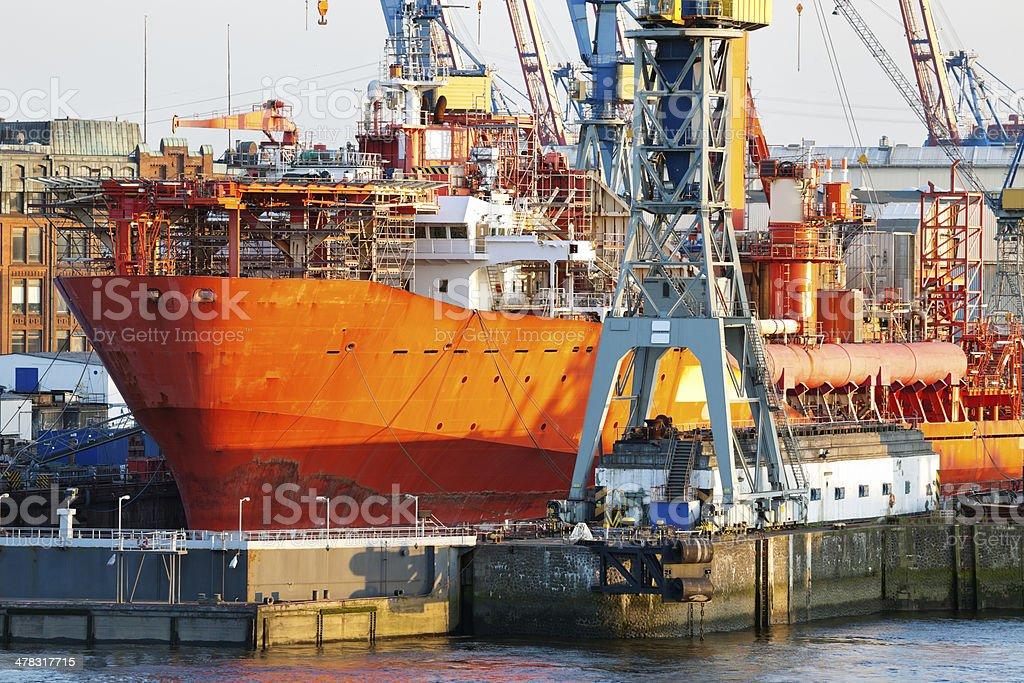Dry Dock Ship Maintenance, Hamburg Harbour stock photo