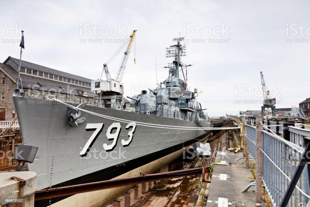 Dry Docked Navy Warship stock photo
