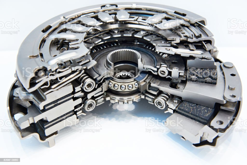 Dry double clutch system in section stock photo