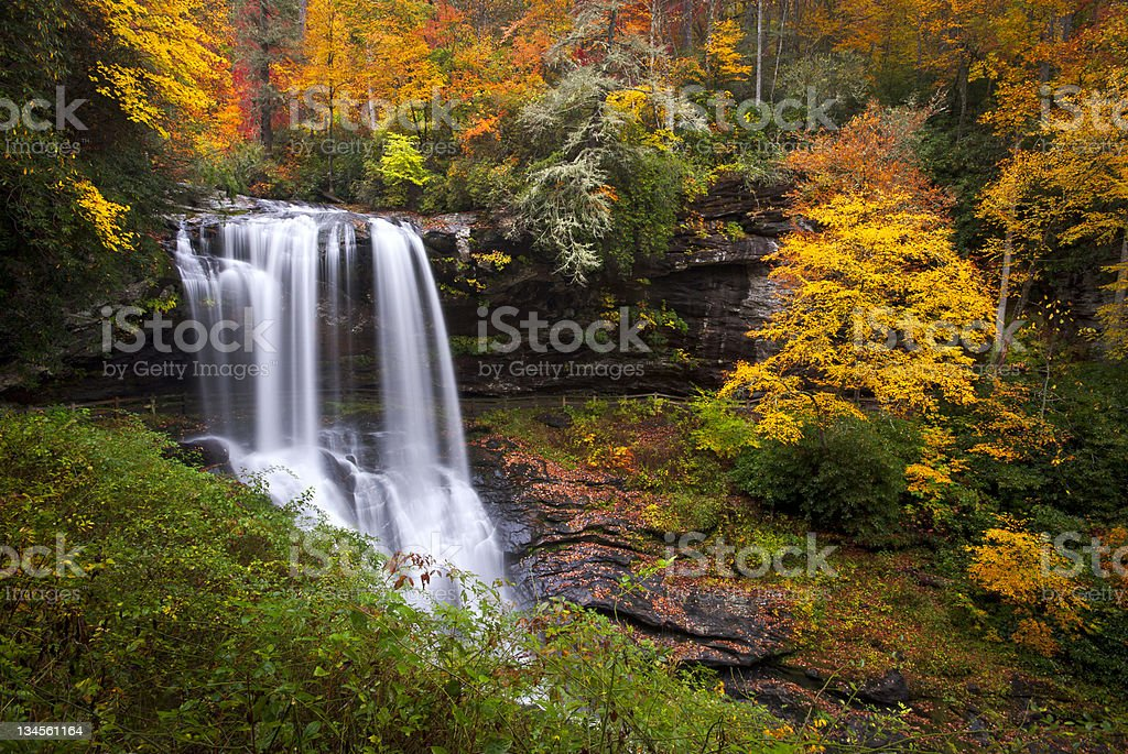 Dry Falls Autumn Waterfalls Highlands NC Forest Fall Foliage stock photo