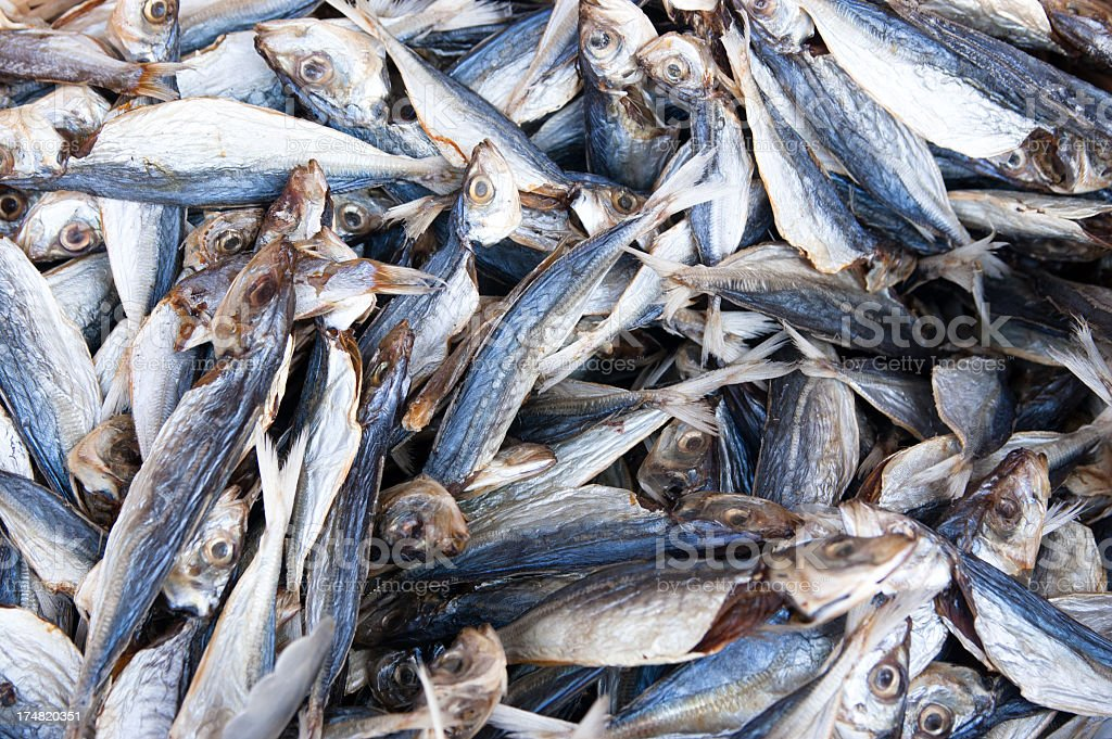 dry fish on sale royalty-free stock photo