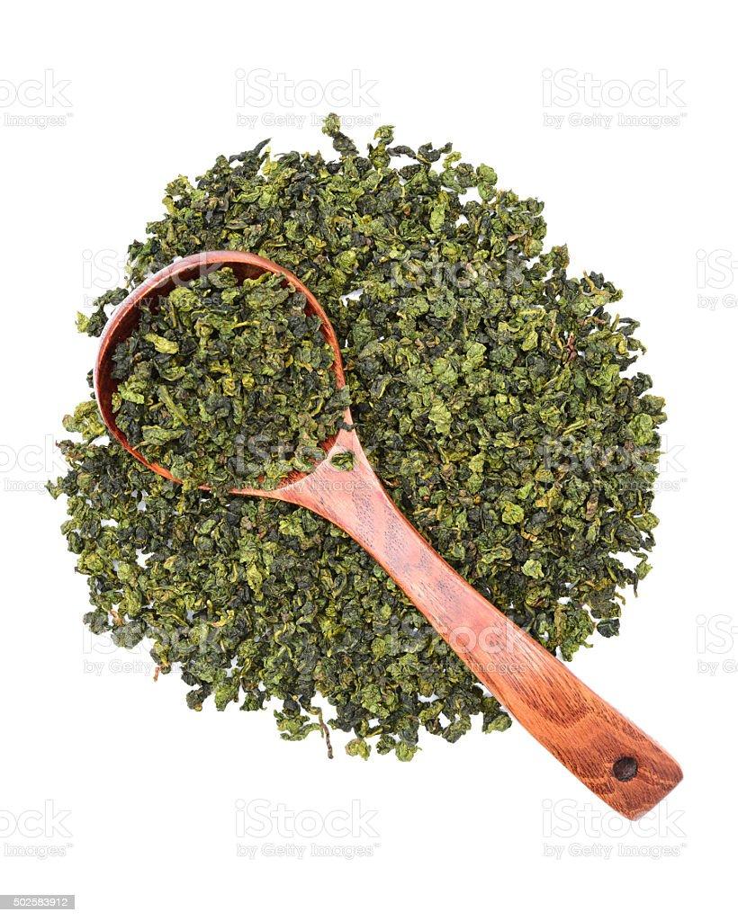 Dry green oolong tea leaves stock photo
