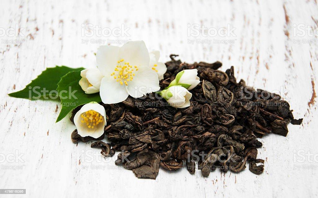 Dry green tea stock photo
