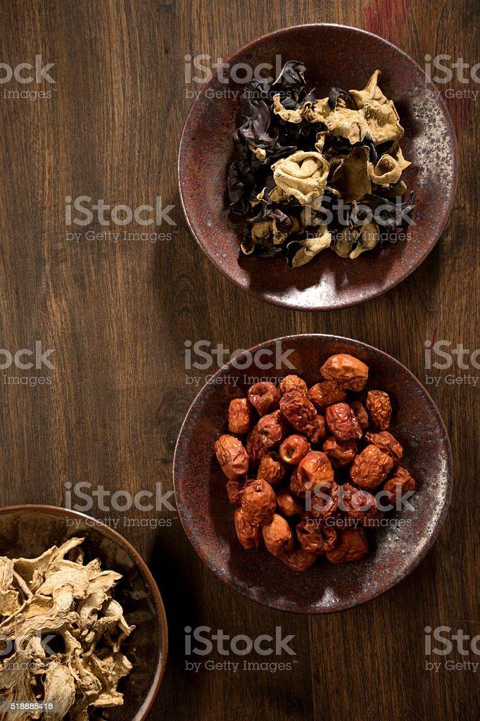dry  herb Chinese jujube ginger mushroom stock photo