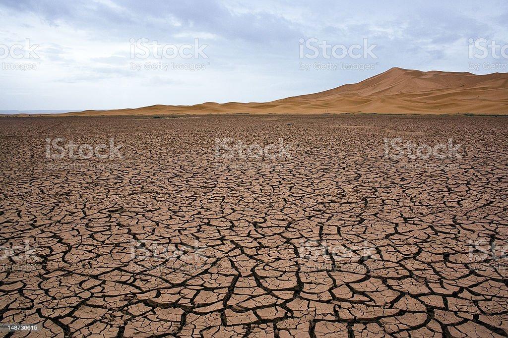 Dry lake at the sahara stock photo