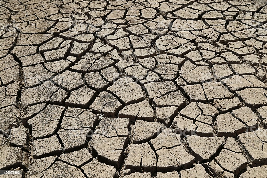 Dry Lake Bed Due To Drought stock photo