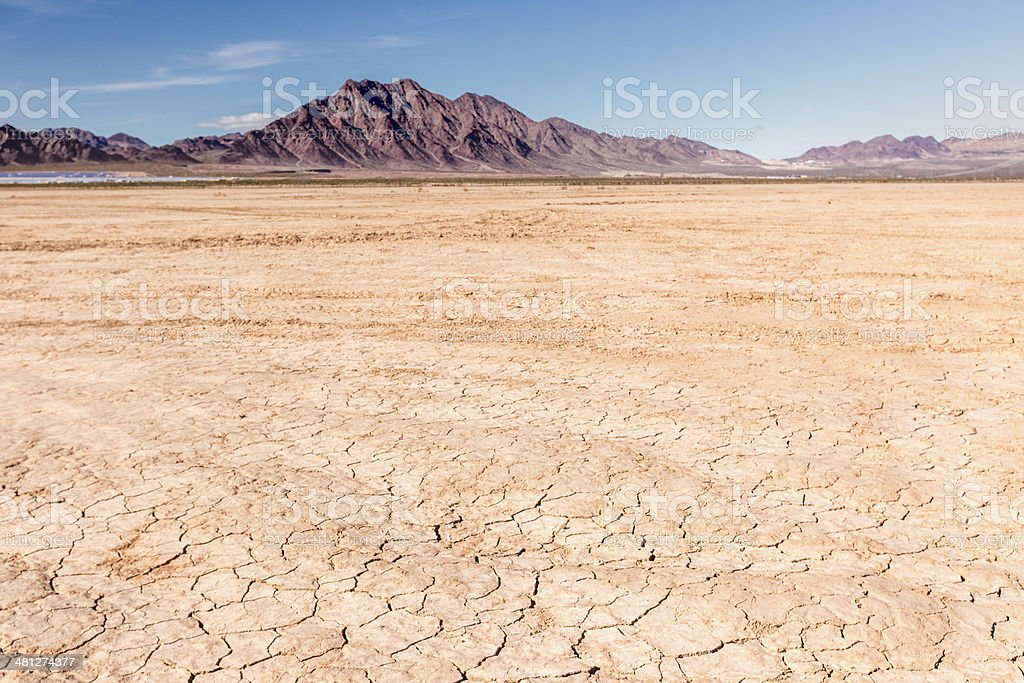 Dry lake bed in desert stock photo