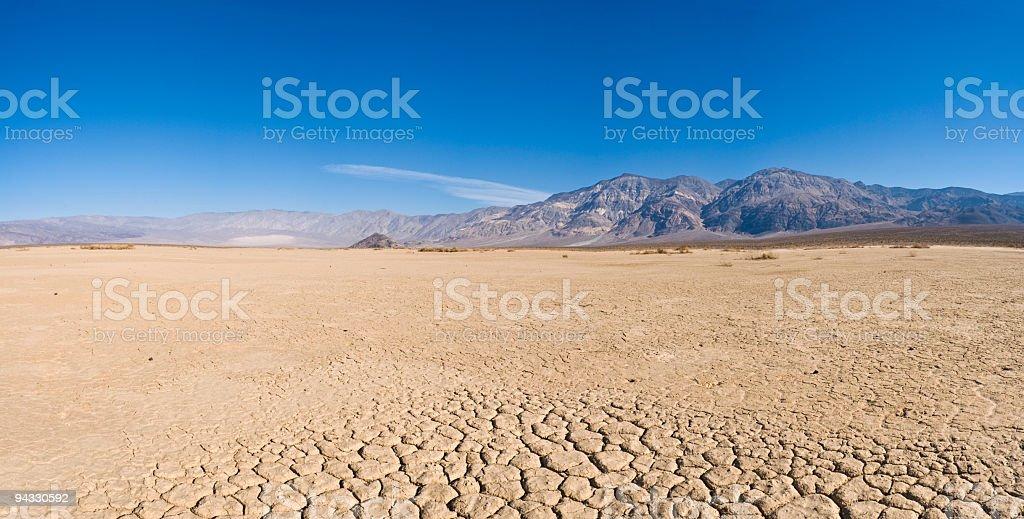 Dry lake bed in desert stock photo
