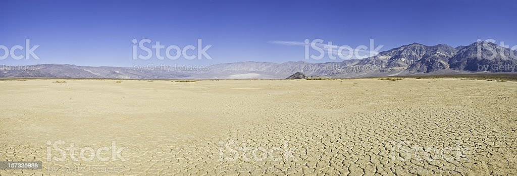 Dry lake desert vista stock photo