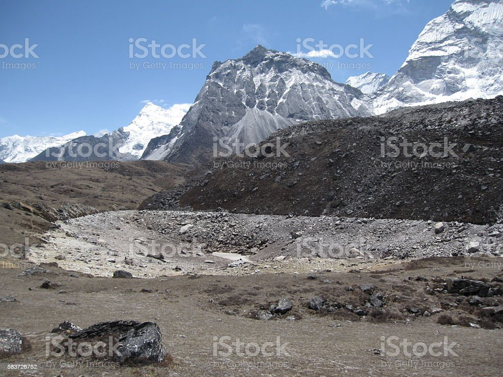 Dry Lake on the Mt. Everest Base Camp Trek, Nepal stock photo