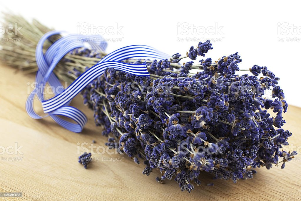 dry lavender bunch on a wood board royalty-free stock photo