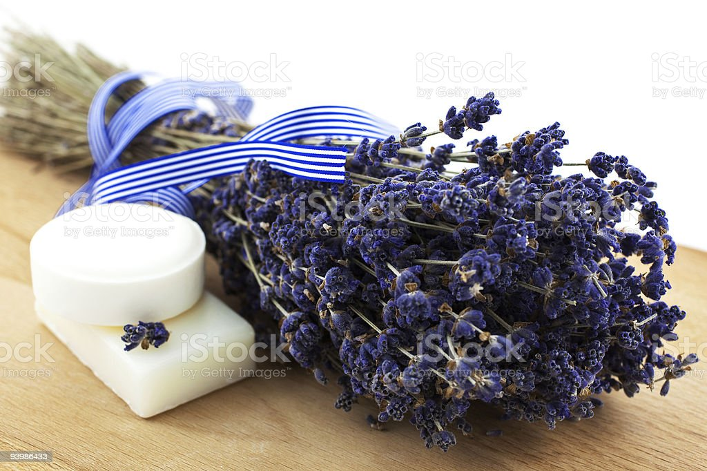 dry lavender bunch with two white soap pieces royalty-free stock photo