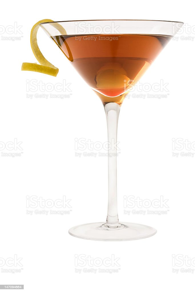 dry manhattan cocktail or Rob Roy on a white background stock photo