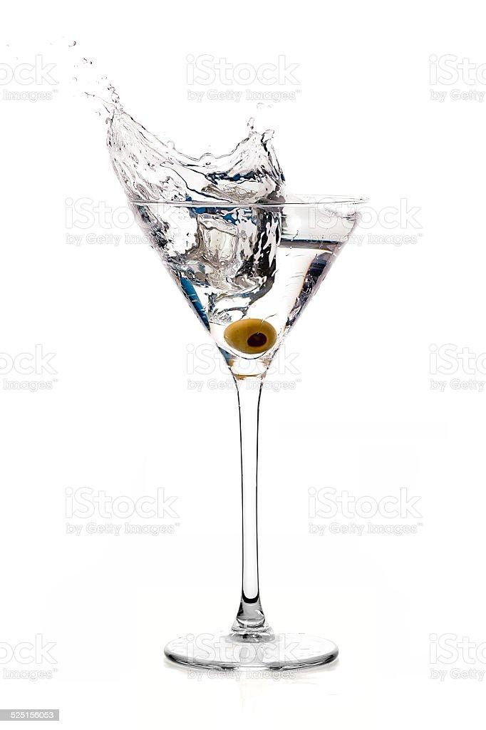 Dry Martini Cocktail with Big Splash stock photo