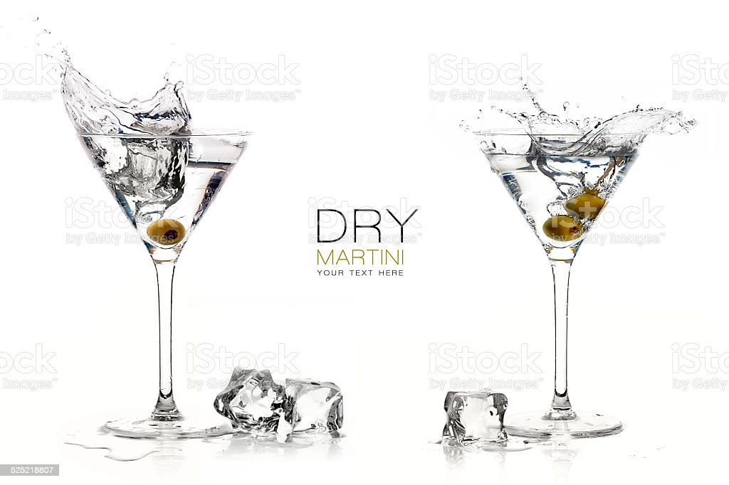 Dry Martini Cocktails with Big Splashes. Design Template stock photo