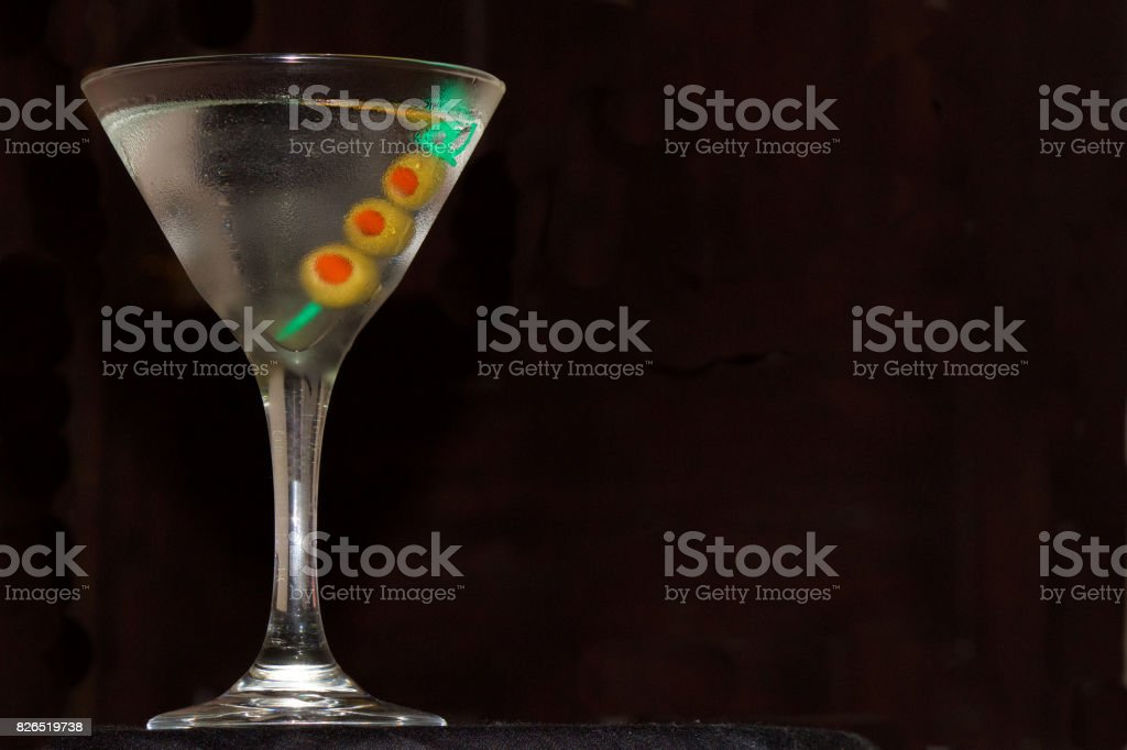 Dry Martini Straight Up with Three Olives stock photo