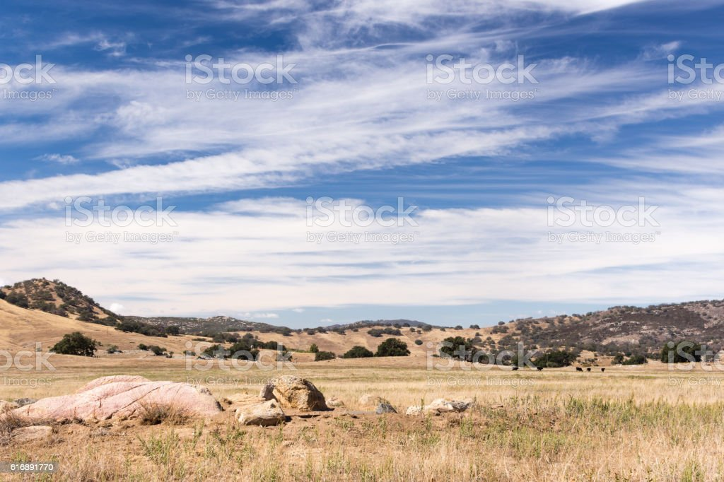 Dry meadows and rolling hills near Julian, CA stock photo