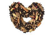 dry mix black tea leaves isolated