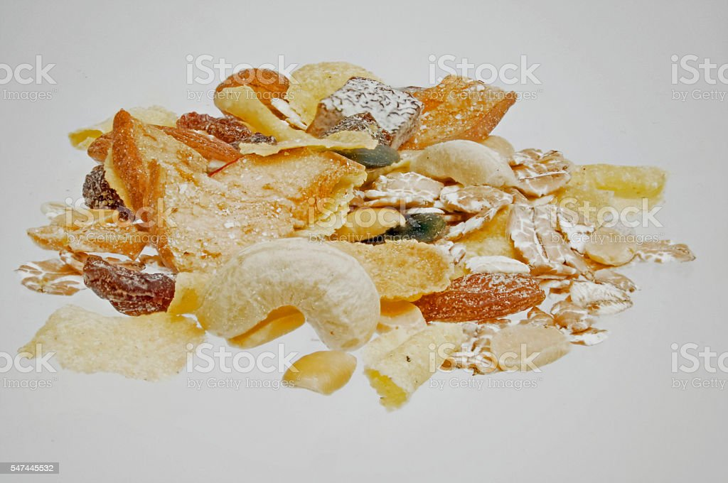 Dry - muesli with many fruits and nuts stock photo