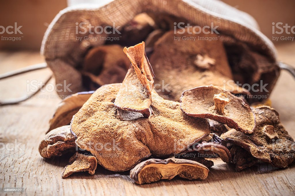 Dry mushrooms in sack on wooden table. stock photo