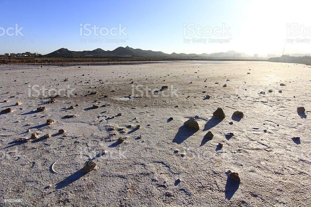 dry natural salt lakes (Salinas) on the south coast Murcia, stock photo