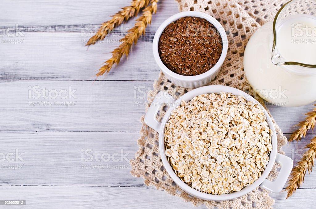 Dry oat flakes stock photo