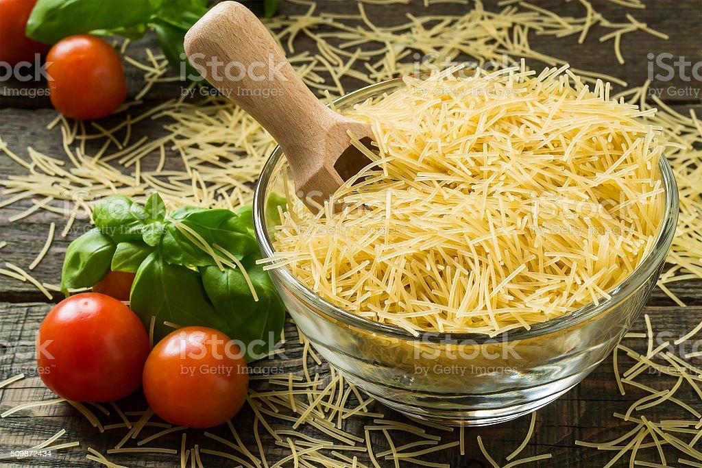 Dry pasta vermicelli stock photo