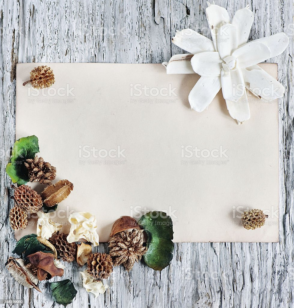 Dry plants background with paper royalty-free stock photo