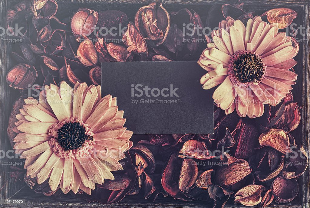 Dry Potpourri with black card stock photo