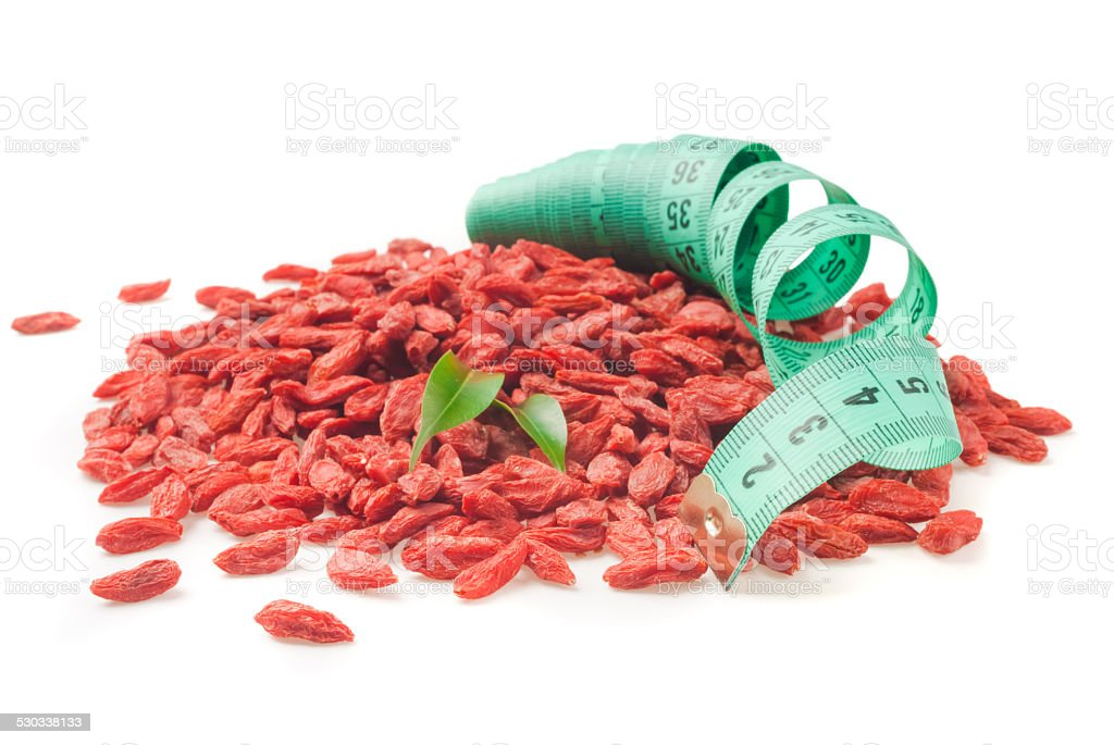 dry red goji berries for a healthy diet stock photo