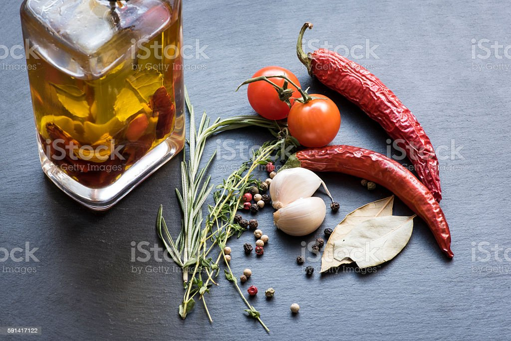 Dry red hot chili peppers, garlic, laurel leafs, tomatoes, seasoning,...