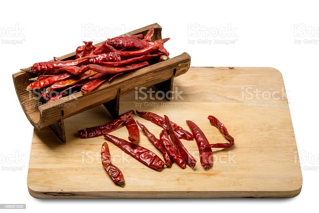 dry red pepper on white background stock photo